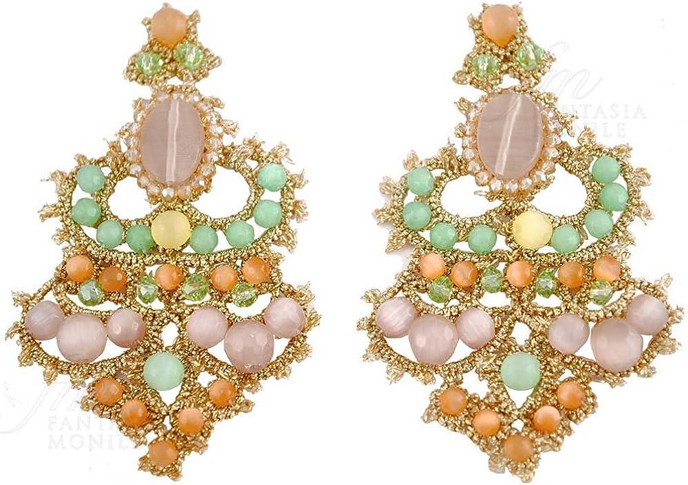Pendientes Encaje Frivolité Haute Couture piedras naturales jade ojo de gato hecho a mano diseño monile pvscnfm