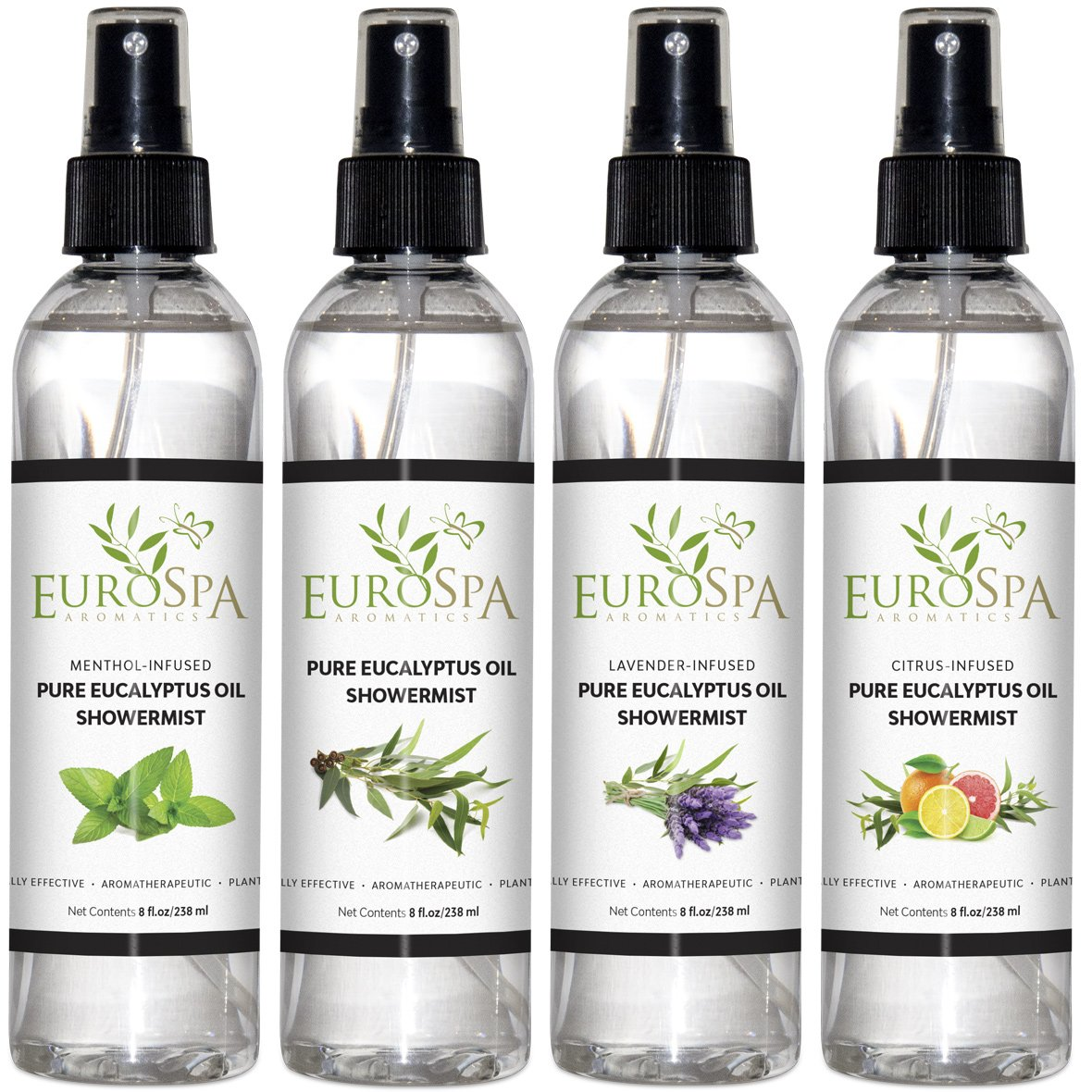 EuroSpa Aromatics Pure Eucalyptus Oil ShowerMist and Steam Room Spray, All-Natural Premium Aromatherapy Essential Oils - Variety 4 Pack - 8 oz Each