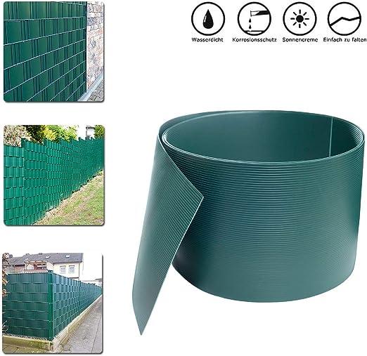HENGMEI 2.5m X 19cm Privacidad PVC Protección Visual Rayas con Valla Protector de Pantalla Fijación Clipse Valla Valla de jardín, Verde: Amazon.es: Jardín