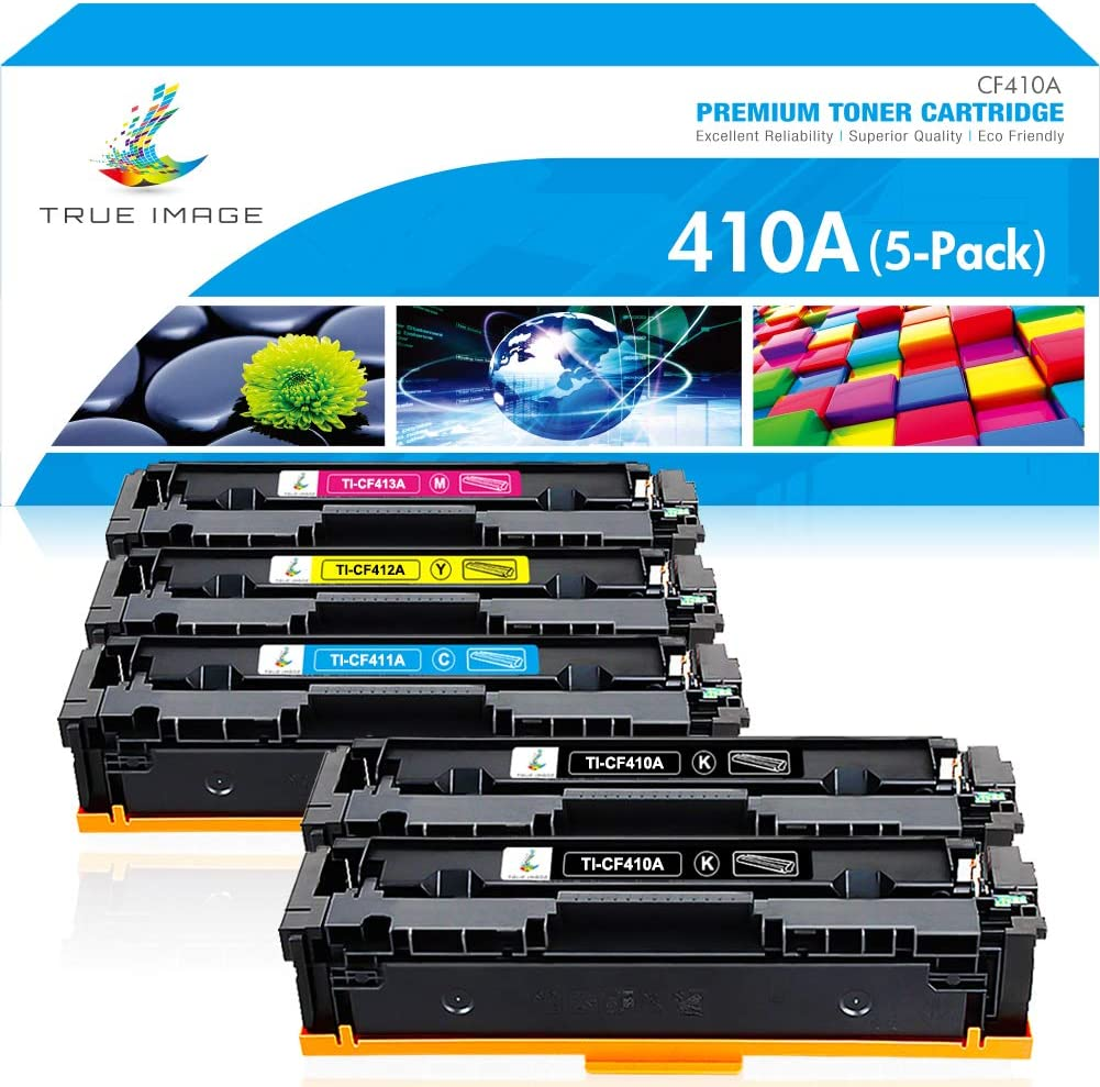 True Image Compatible Toner Cartridge Replacement for HP 410A CF410A 410X HP Color Laserjet Pro MFP M477fnw M477fdw M477fdn M452dw M452nw M452dn M477 Toner Printer (Black Cyan Yellow Magenta, 5-Pack)