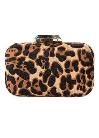 ca1555739e41 Mango Ladies Minaudiere Bag Genuine Bovine Leather Animal Print Women s  Clutch Crossbody Shoulder Bag with Gold