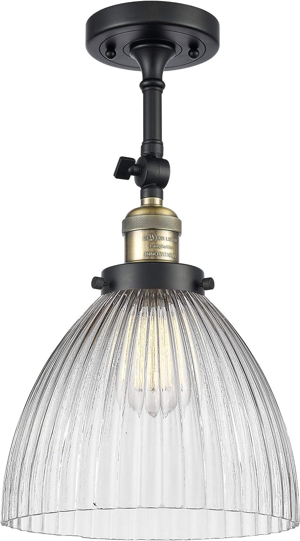 Innovations 201F-AC-G531-LED 1 Light Vintage Dimmable LED Semi-Flush Mount Antique Copper
