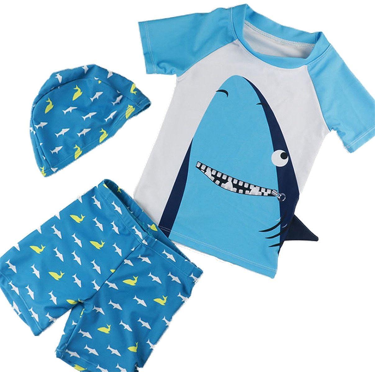REWANGOING Baby Kids Boys Two Pieces Cartoon Print Short Sleeve Swimwear Rash Guard UPF 50+ UV Swimsuit with Caps klstD051
