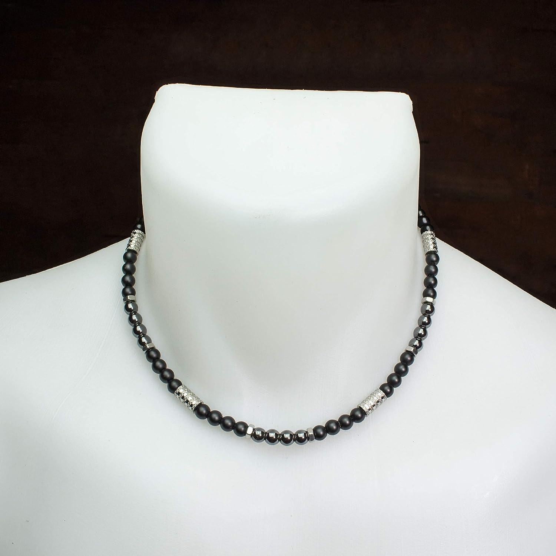 anneaux hexagone Acier inoxydable Fait main Made in France COLLINIX18 Collier Homme Taille 45-50cm perles /Ø 6mm pierre gemme Agate Noir H/ématite