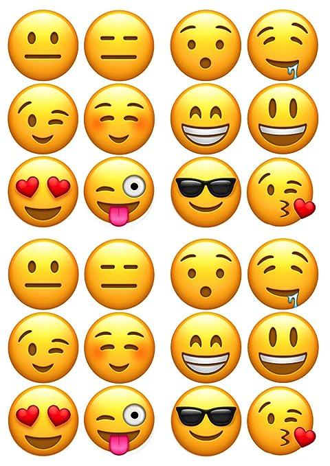 24 x comestible Emoji cara glaseado comestible/Cup cake ...