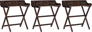 Linon Home Decor Products Linon Walnut Folding Griffin Desk (Pack of 3)
