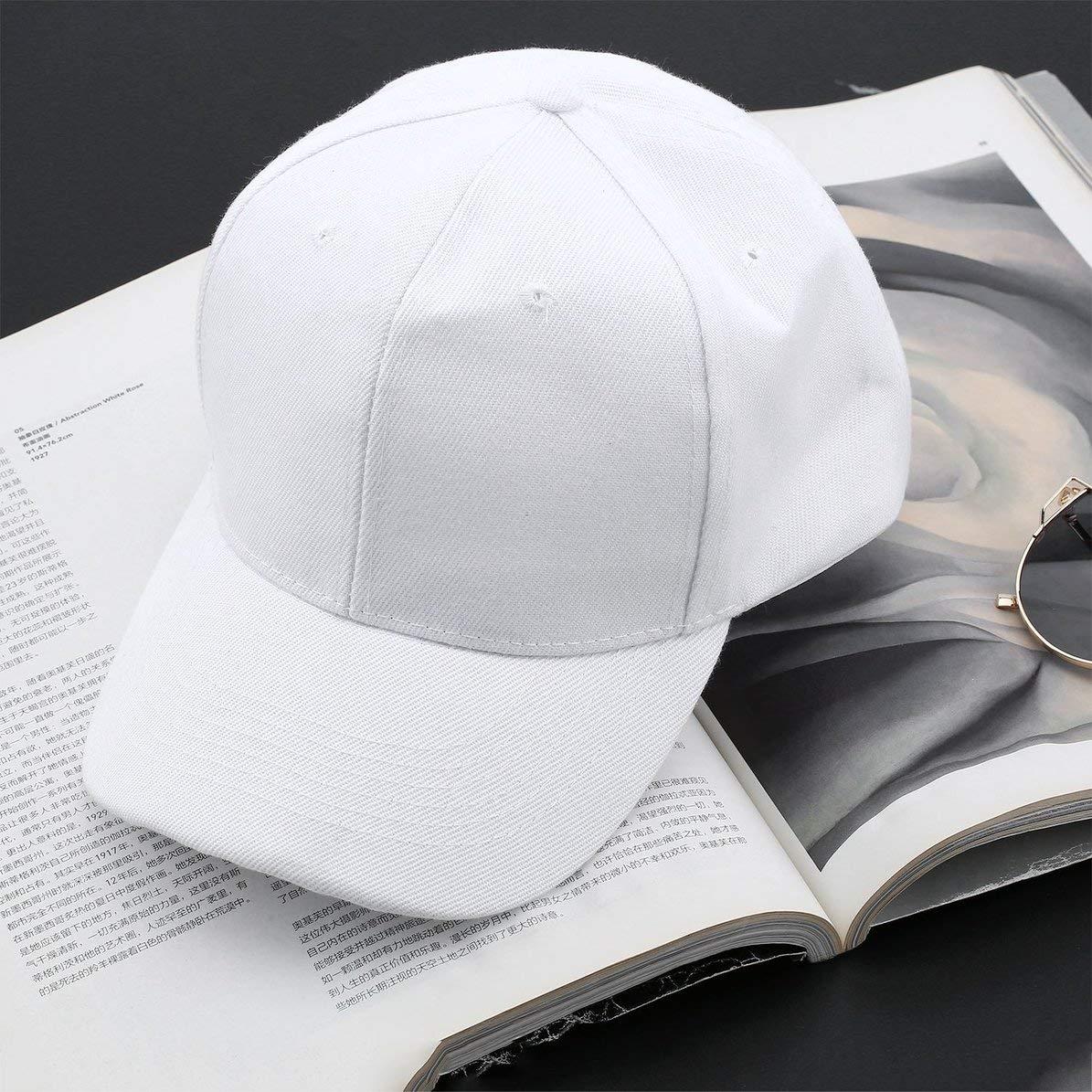 Blanco, WEIWEITOE Moda de Verano Casual Hombre Mujer Damas Tama/ño Ajustable Sombreros Color Puro Blanco Curvado Liso Gorras de B/éisbol Gorras de Viaje al Aire Libre
