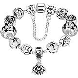 Presentski Catena Amore Sicuro argento placcato il braccialetto di fascino con perline Zirconia e fiori rosa cubi