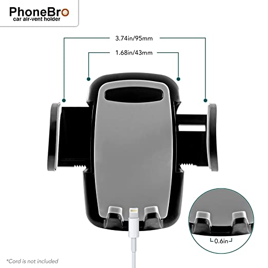 Amazon.com: PhoneBro car air-Vent Phone Holder Cradle Stand with Silicone Padding Universal Smartphone Compatible foriPhone X 8 8 Plus 7 Plus SE 6s 6 Plus 6 ...