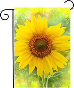 Pickako Watercolor Seasonal Sunflower Flowers Summer Spring Agriculture Landscape Garden Yard Flag 12 x 18 Inch, Double Sided Outdoor Decorative Welcome Flags Banners for Home House Lawn Patio