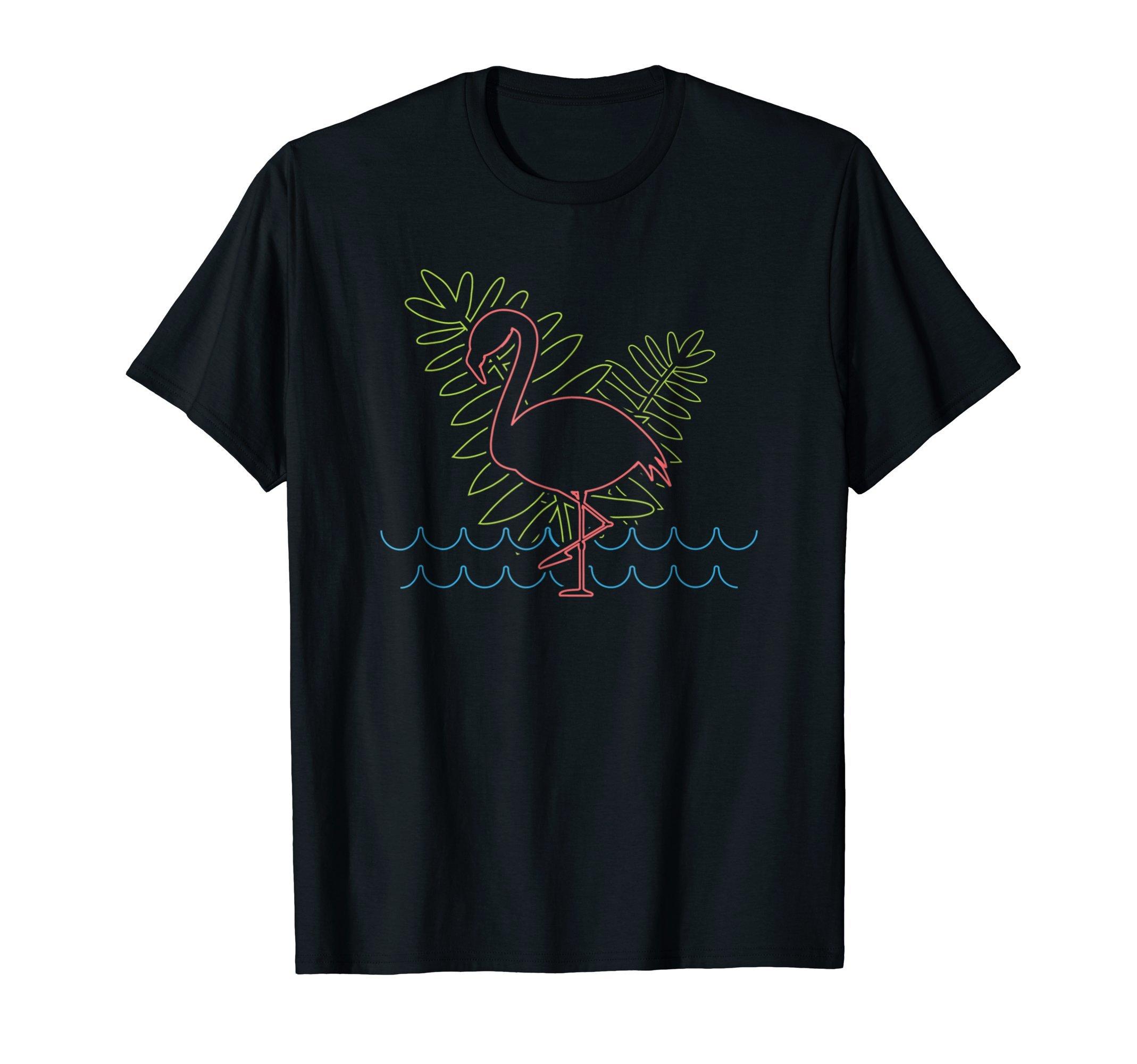 Flamingo Retro Neon Sign Tropical T-Shirt