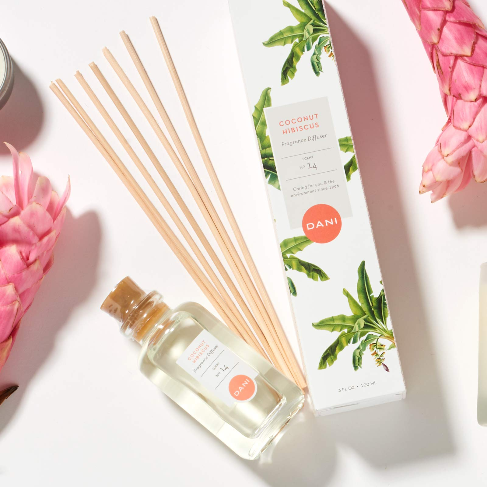 Natural Reed Diffuser Set by DANI Naturals - Tropical Coconut Hibiscus Scent - Aromatherapy Essential Oils - Alcohol Free - 10 Diffuser Sticks - 3.5 Ounce Glass Bottle by DANI (Image #5)
