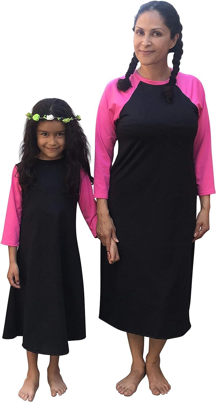Black with Pink ModfyWear Girls Swim Dress