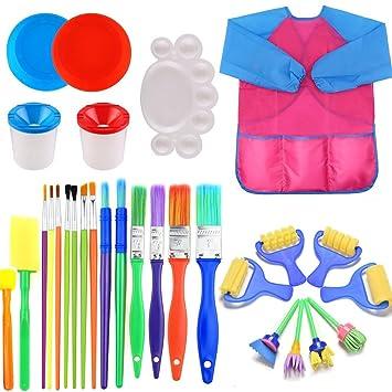 FUQUN Pintura Esponjas y Pinceles para Niños, Early Learning Kids Art & Craft 29 Piezas