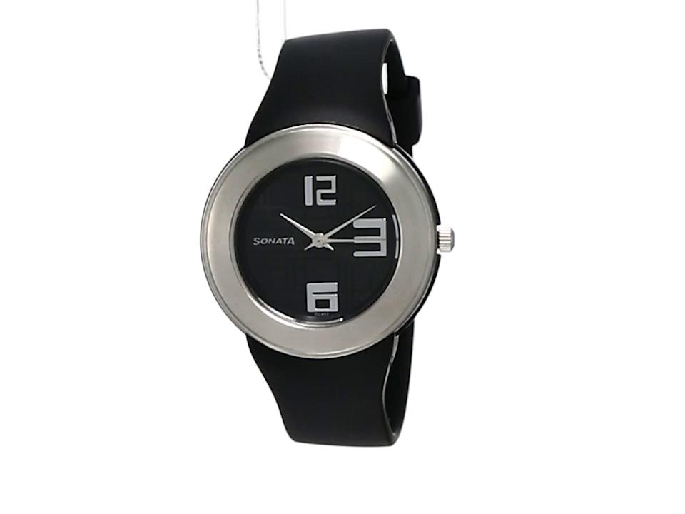 Sonata Fashion Fibre Analog Black Dial Unisex Watch -NK8991PP03