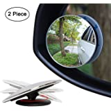 "Ampper Blind Spot Mirror, 2"" Round HD Glass Frameless Convex Rear View Mirror, Pack of 2"