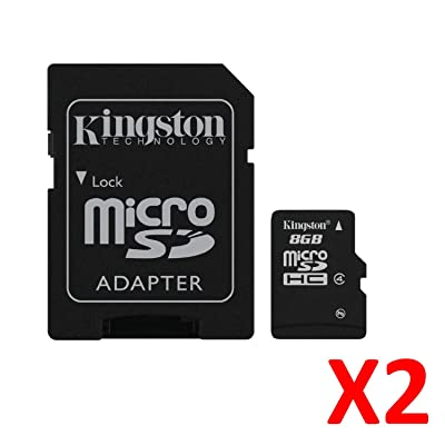 2X Kingston Class 4 Micro-SDHC Secure Digital - Tarjeta microSD de 8 GB (clase 4, clase 4, clase 4)