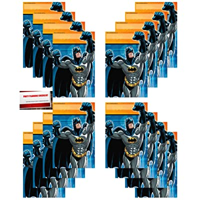 Batman Party 16 Pack Plastic Loot Treat Candy Favor Bags (Plus Party Planning Checklist by Mikes Super Store): Toys & Games