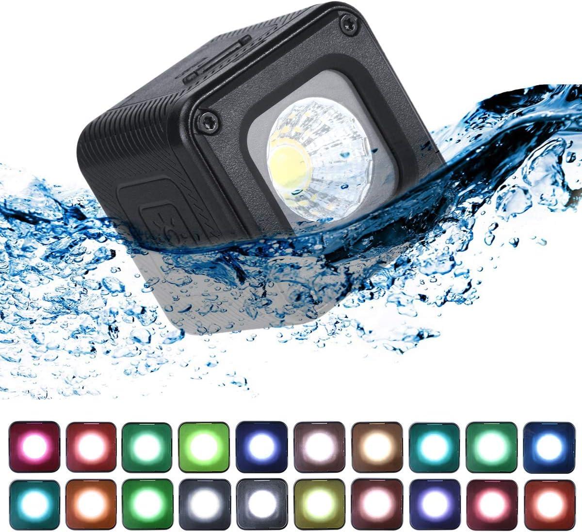 ULANZI L1 Pro Mini LED إضاءة مقاومة للماء مع 20 لون جل لكاميرا الهواتف الذكية بدون طيار التصوير الفوتوغرافي والفيديو، تحت الماء، متوافقة مع كاميرا دي جي اي او اس مو اكشن جوبرو 8 7 6 5 iPhone DSLR