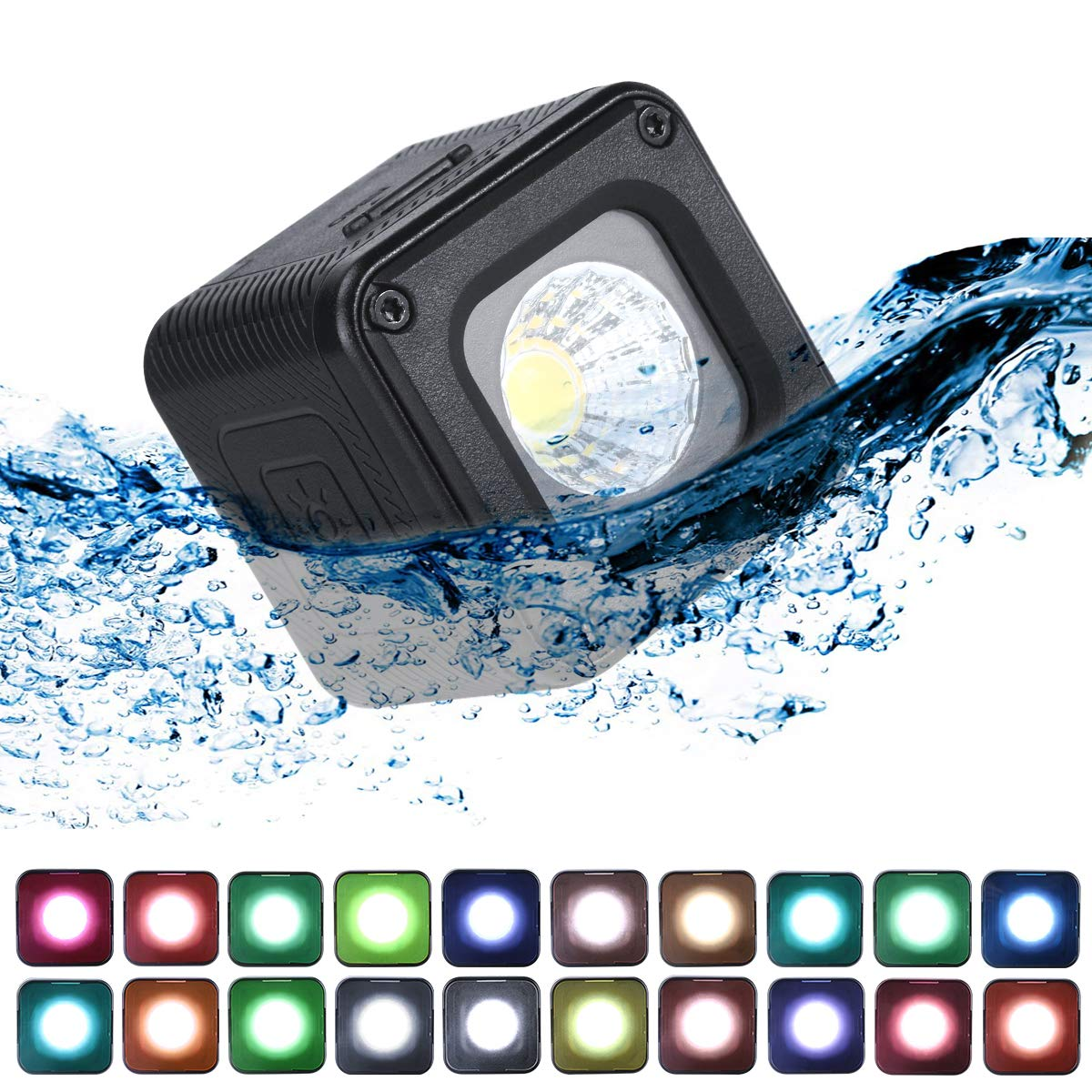 ULANZI L1 Pro Versatile Mini LED Light Waterproof LED Lighting with 20 Color Gels for Smartphone Camera Drone Photography,Video, Underwater,Compatible w DJI OSMO Action Gopro 7 6 5 iPhone DSLR Cameras by ULANZI