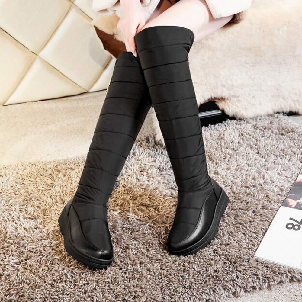 HhGold Damen Schnee knöchel Lange Lange Lange Stiefel, Damenmode solide Slip-on runde Spitze Flache Stiefel Schuhe (Farbe   Schwarz, Größe   4.5 UK) 1605e3