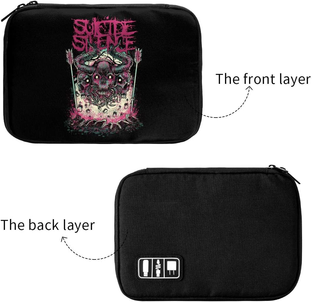 Newlt Suicide Silence Data Line Storage Bag Cable Box Waterproof Electronics Accessories Data Cable Package Portable
