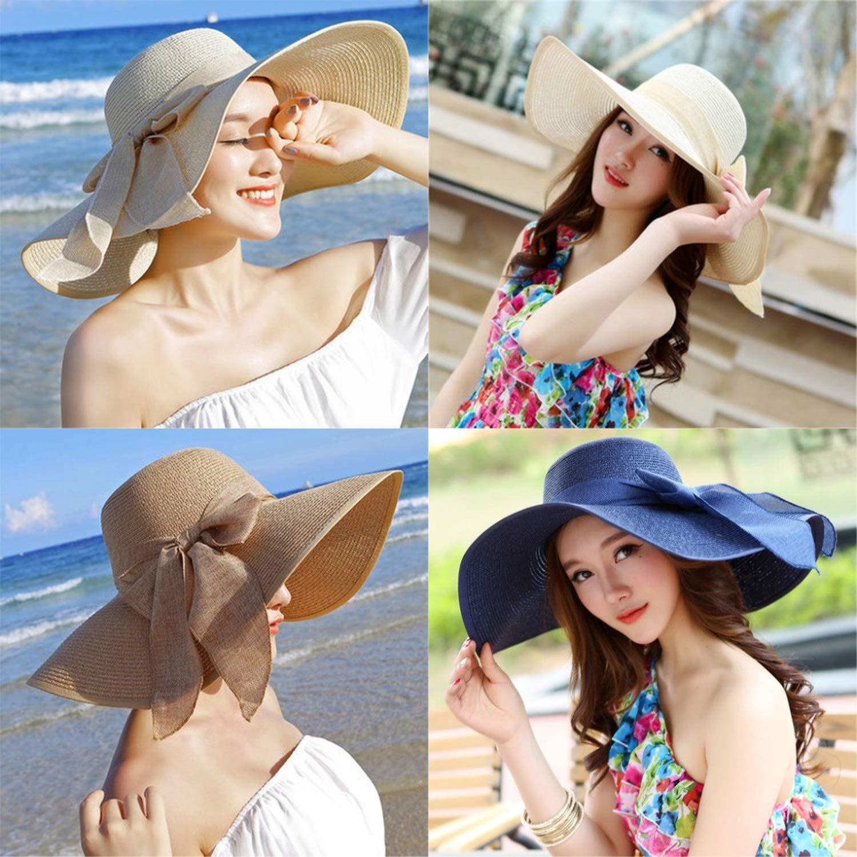 Summer Large Brim Straw Hat Floppy Wide Brim Sun Cap Bowknot Beach Foldable Hats New