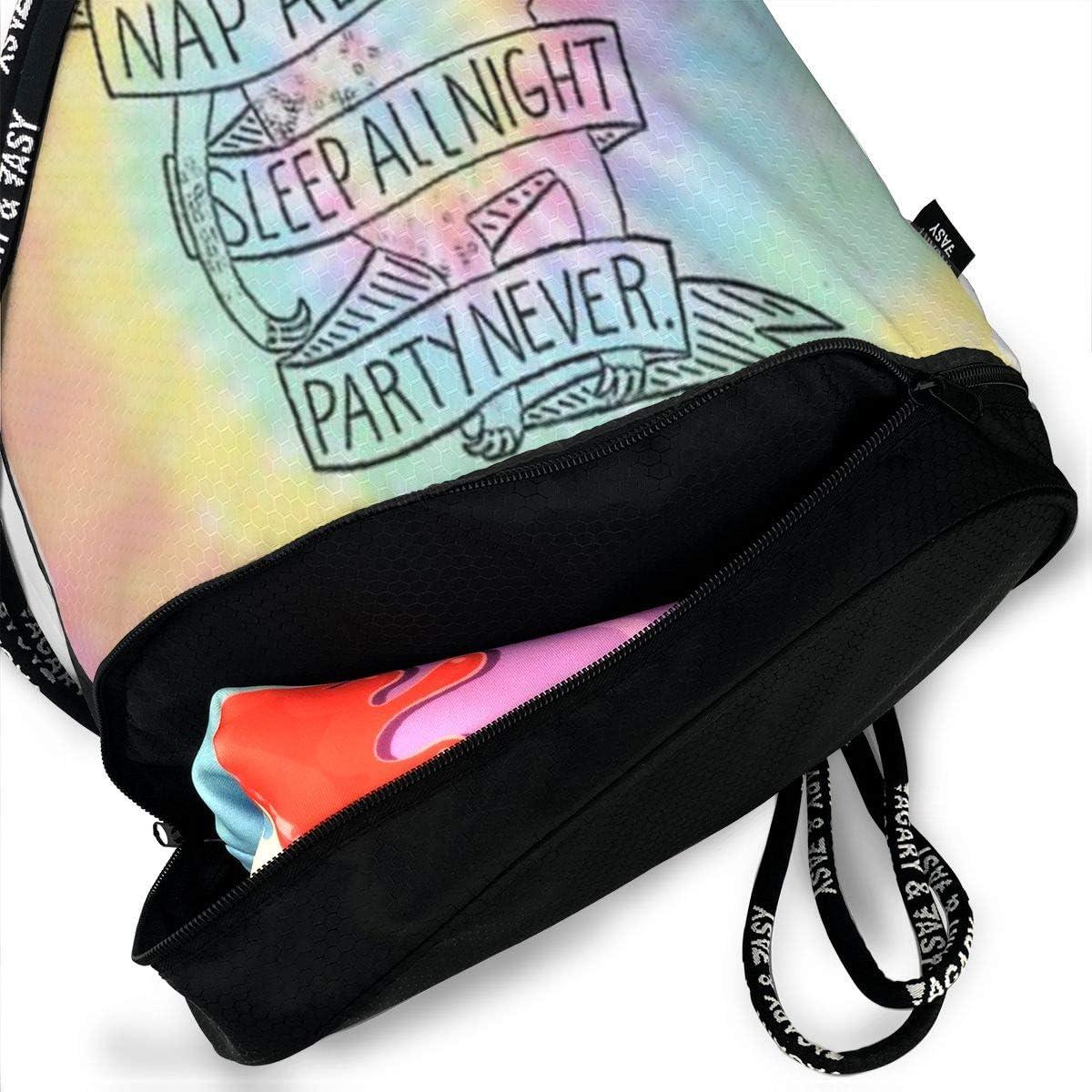 HUOPR5Q Sloth Colorful Drawstring Backpack Sport Gym Sack Shoulder Bulk Bag Dance Bag for School Travel