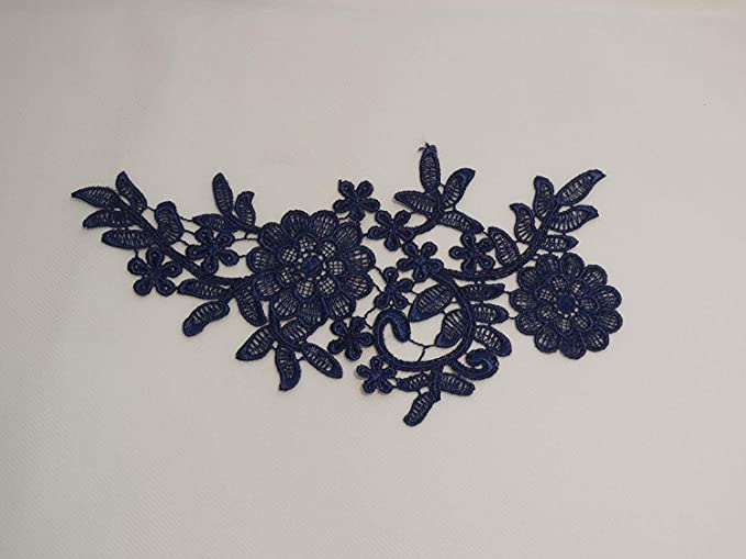 craftuneed navy blue cotton lace applique dress sewing navy blue floral lace motif Per piece FREE UK PP Fast Dispatch M4a