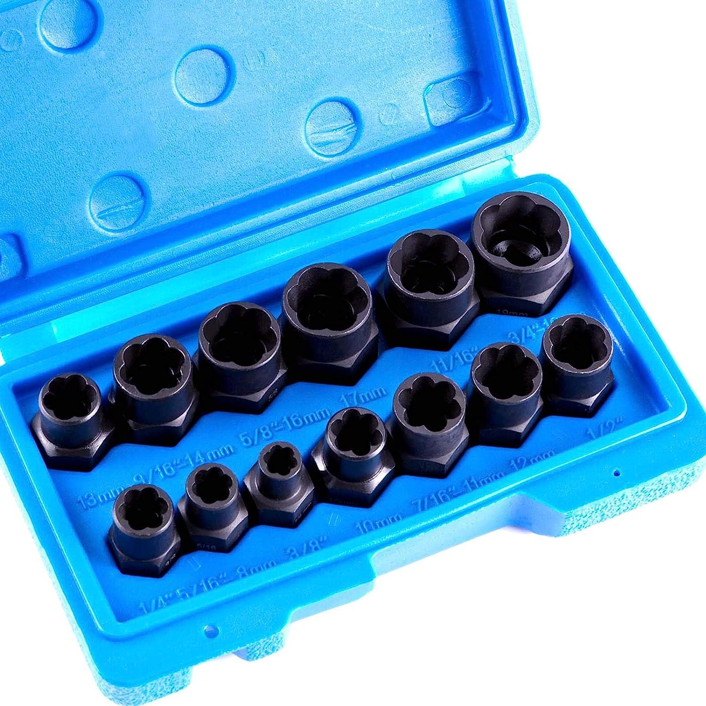 13pcs Impact Bolt & Nut Remover Set, Broken Lug Nut Extractor Socket Tool
