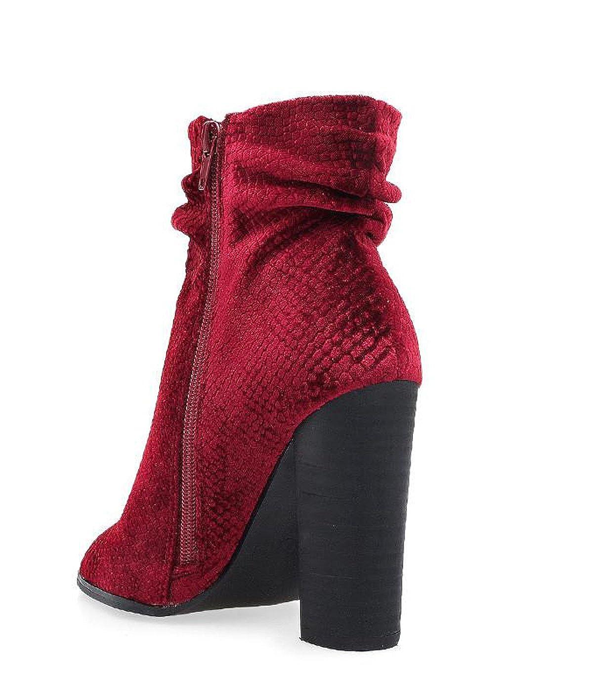 d2e65b05a5cb Privileged by J.C. DOSSIER Misha Wine Velvet Open Toe Block Heel Ankle  Booties