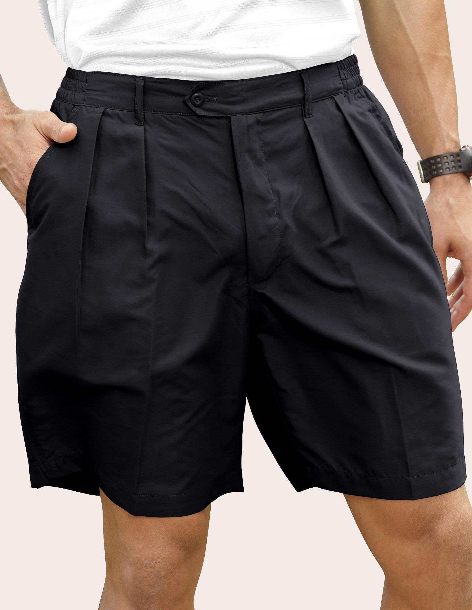 Pro Celebrity Men's Lightweight MF636 Pleated Shorts (38, Black)