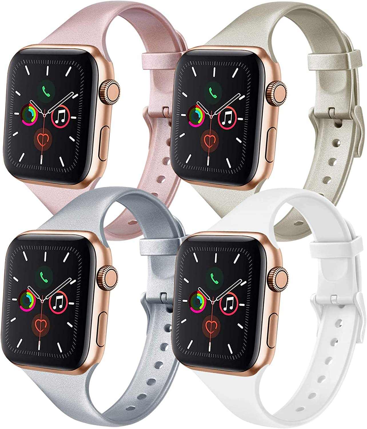 IEOVIEE [Pack 4] Silicone Slim Bands Compatible with Apple Watch Bands 42mm 38mm 44mm 40mm Series 6 5 4 3 & SE, Narrow Replacement Wristbands (Rose Gold/Champagne/Silver/White, 38mm/40mm M/L)