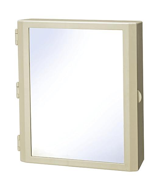 CIPLAPLAST Glass Flora Ivory Bathroom Mirror Cabinet with 14 Pieces Multipurpose Buffers Bathroom Shelves