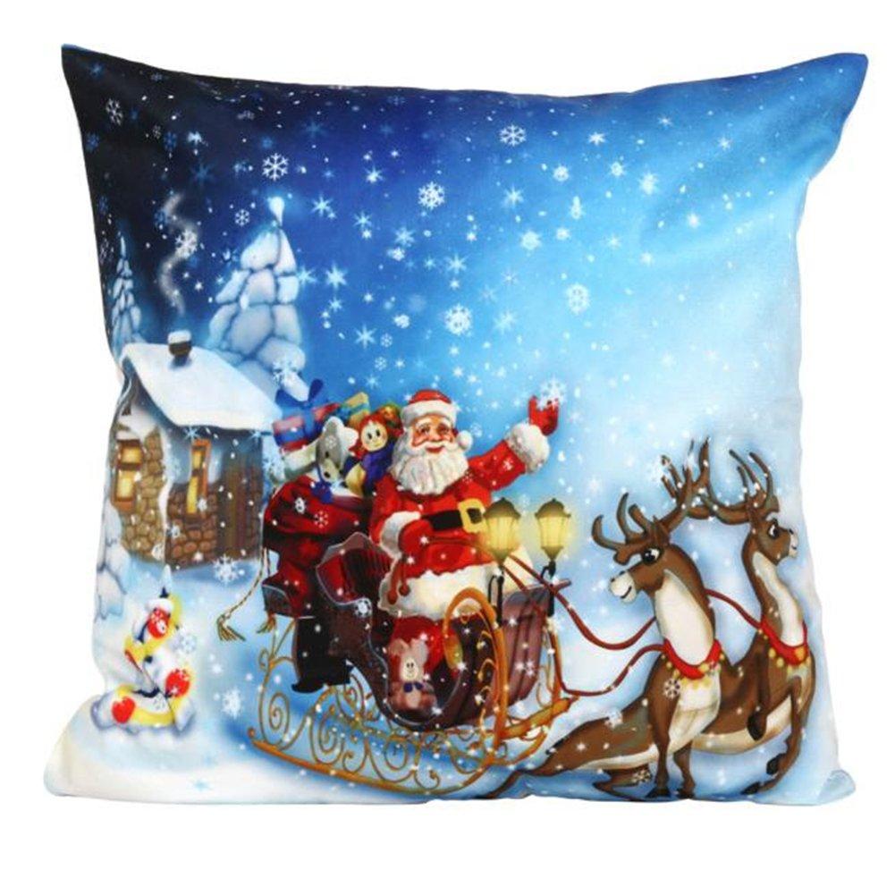 Bluester Natale divano letto Home decorazione Festival federa Cuscino Cover A8