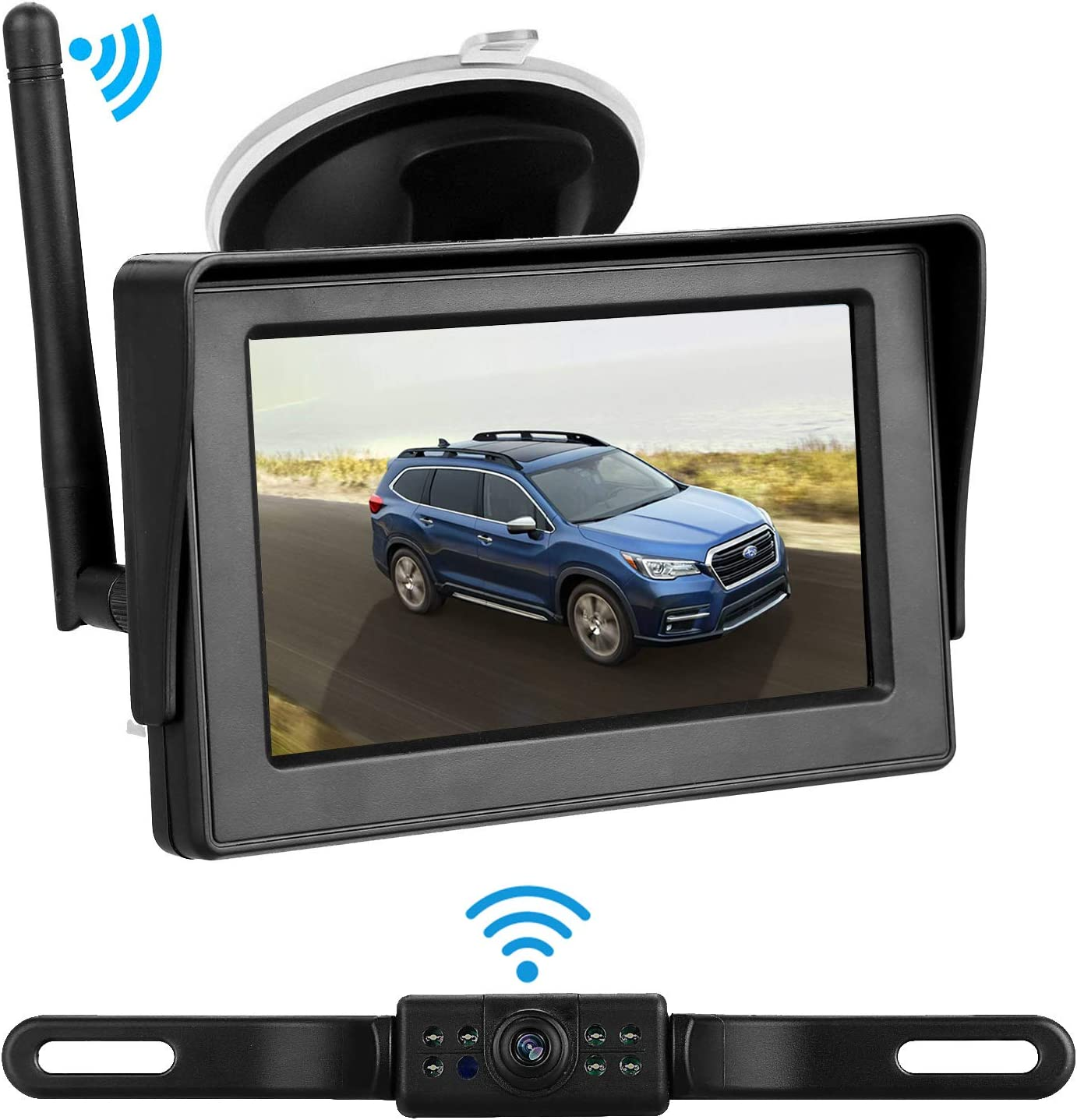 iStrong HD Backup Camera and Monitor Kit for Cars/SUVs/Minivans with 4.3'' Monitor 9V-24V System 7 White Light LED Night Vision Waterproof License Plate Camera
