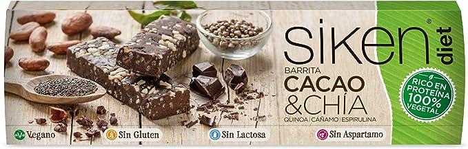 SIKEN DIET - Barrita proteína vegetal, sabor cacao y chía ...
