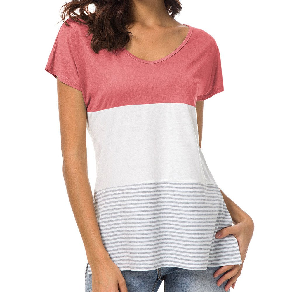 Libermall Women's V-Neck Stripe Color Block Patchwork Casual Short Sleeve T-Shirt Loose Tunic Shirt Blouse Top Pink