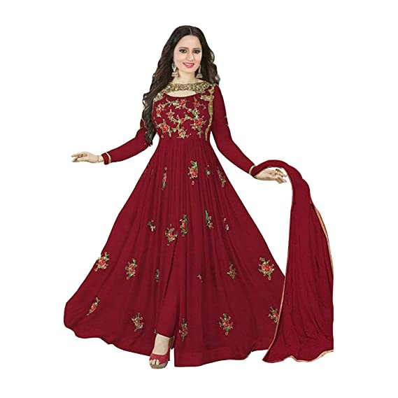 0a5be2c8b5 Sukhvilas Fashion Women s Georgette Embroidered Semi-Stitched Anarkali  Churidar Salwar Suit (Maroon