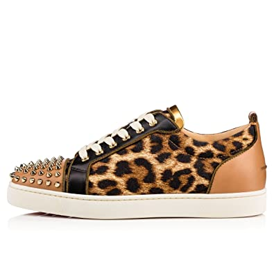 f8ce8bd60fdb Christian Louboutin Louis Junior Spikes Men s Flat Calf Leather Stud Lowtop  Sneakers Shoes (44