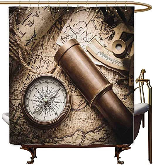 Compass Shower Curtain Navigation Tech Travel Print for Bathroom