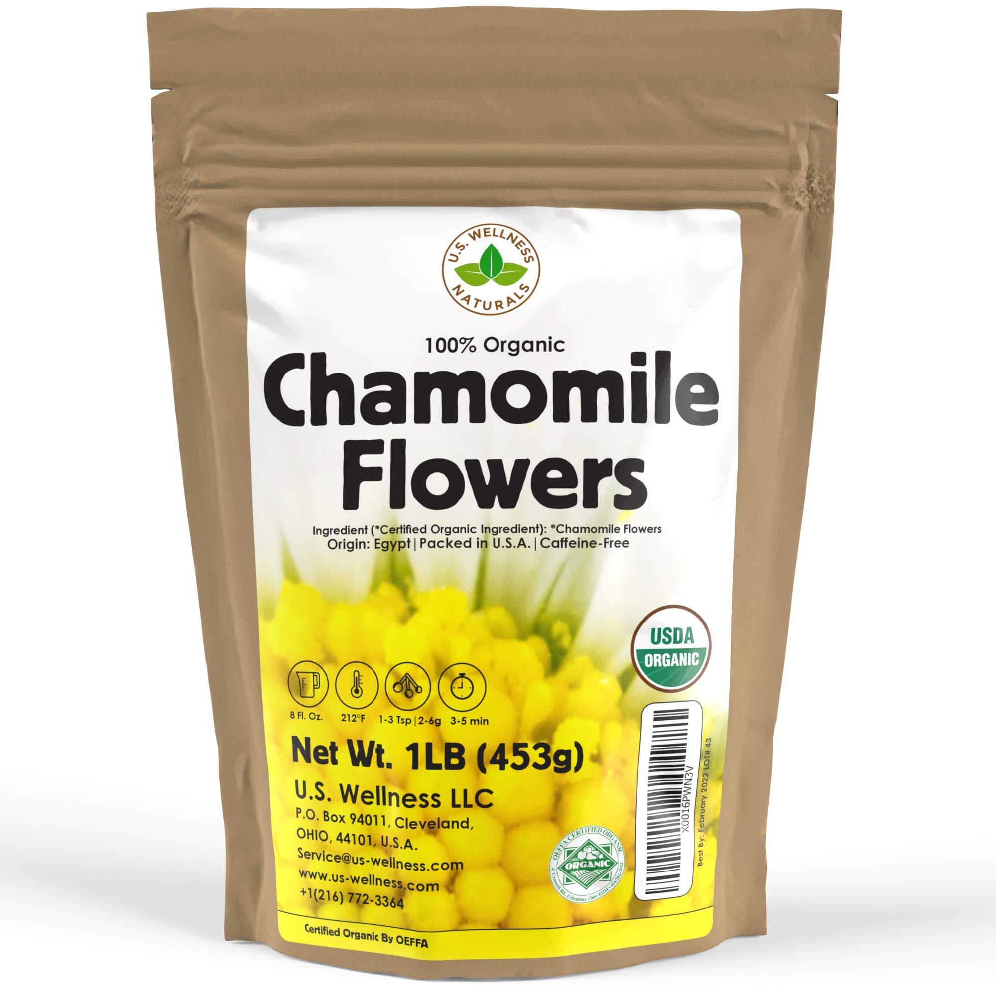 Chamomile Tea 1LB (16Oz) 100% CERTIFIED Organic (USDA seal) Chamomile Flowers Herbal Tea (Matricaria Chamomilla) in 1 lb Bulk Kraft BPA free Resealable Bags from U.S. Wellness by U.S. Wellness Naturals