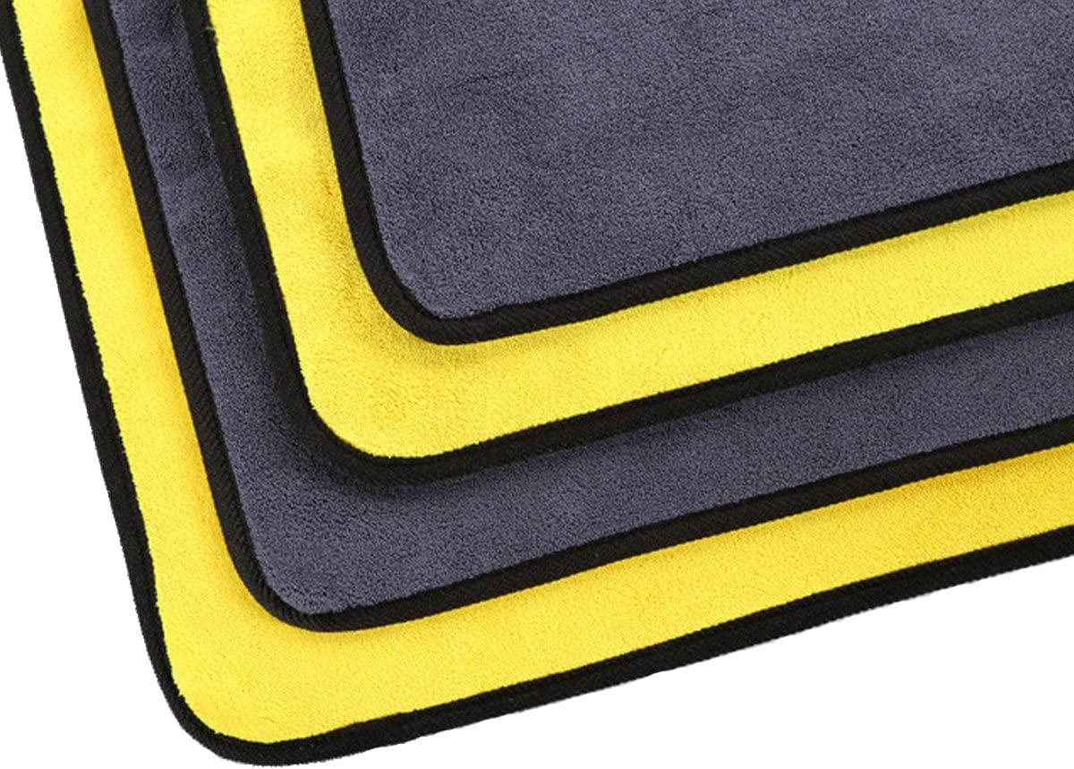 SOFTBATFY 800GSM Microfiber Car Cleaning Towel Cloth Super Thick Car Polishing Waxing Detailing Cloth 3pack, 12 x 16inches