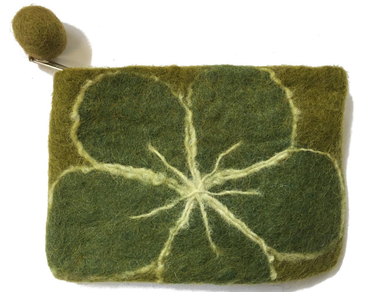 Extra monedero verde grande fieltro con flor - Hecho a mano ...