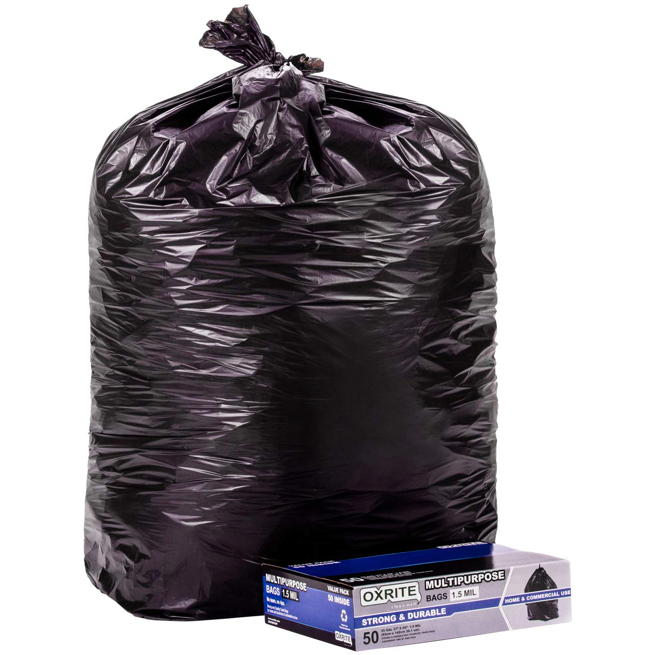 55 Gallon Trash Bags by OXRITE | Individually Folded, Heavy Duty Trash Bags, 1.5 Mil Thick, 50 Count, Black Garbage Bags