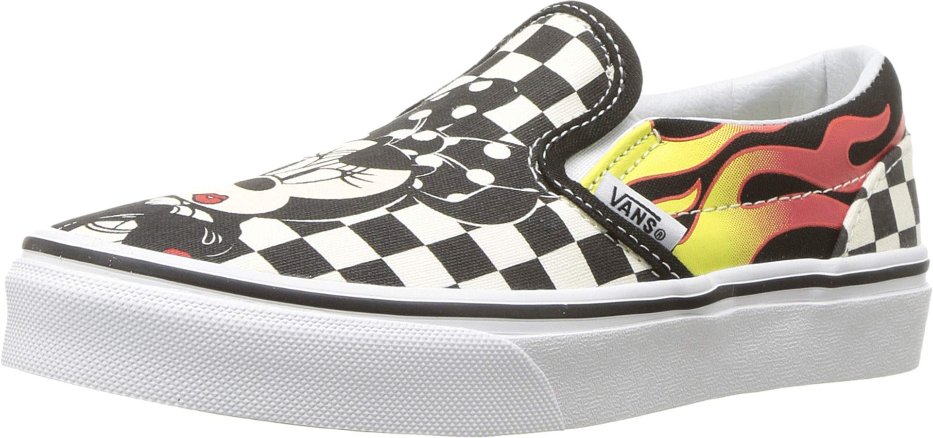 Vans Little/Big Kids x Disney Mickey Mouse 90th Anniversary Classic Slip-On Shoes (1 M US Little Kid, Mickey & Minnie/Checkerboard Flame)