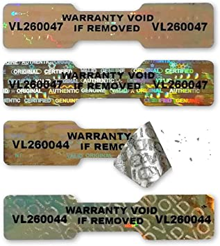 Original Valid Genuine 2 x 0.8 Security Blue Warranty Labels 50mm x 20mm Authentic Secure 24x HIGH Security KINETIC Hologram NUMBERED Stickers Tamper-Evident