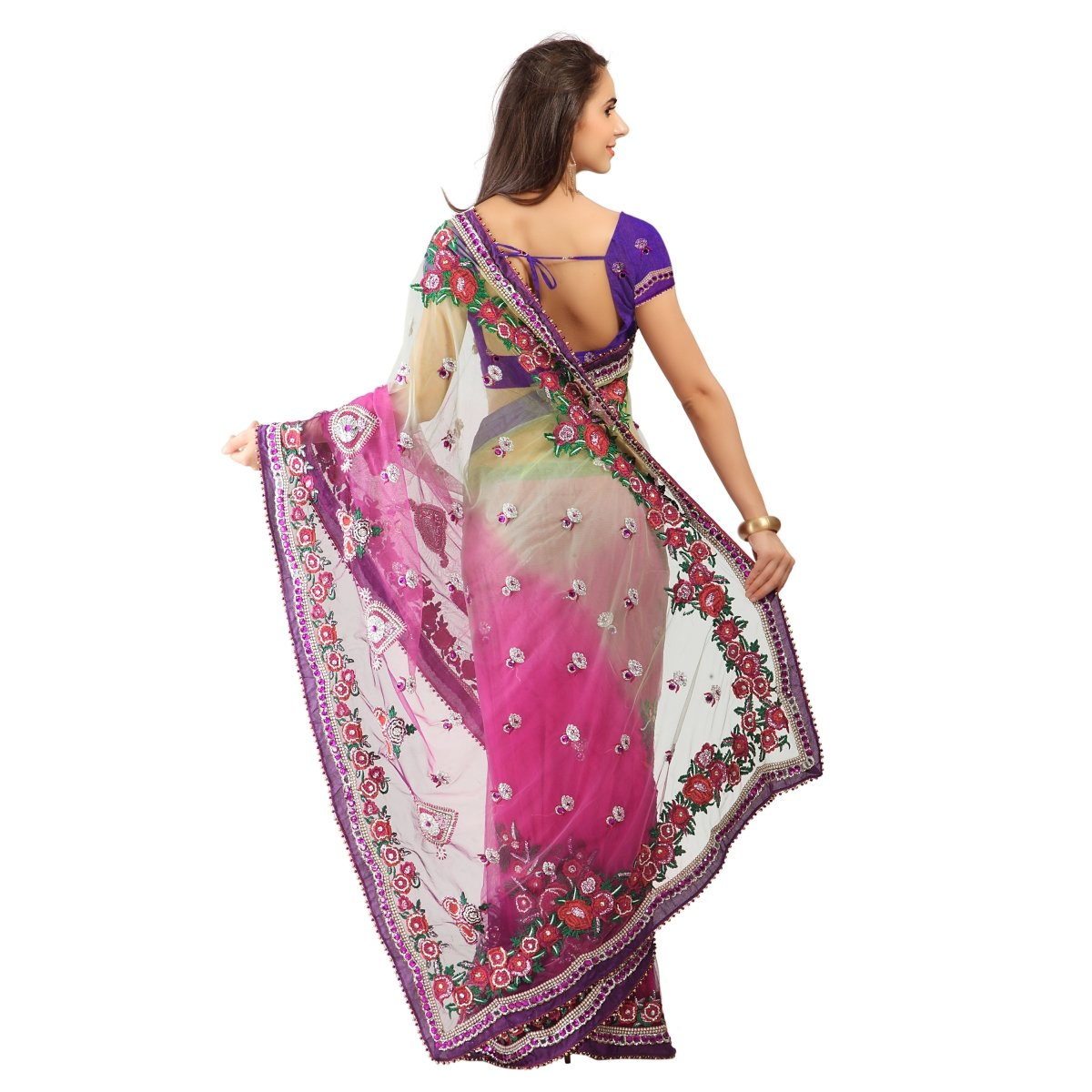 Triveni Women's Indian Pink Net Embroidered Sarees by Triveni (Image #3)