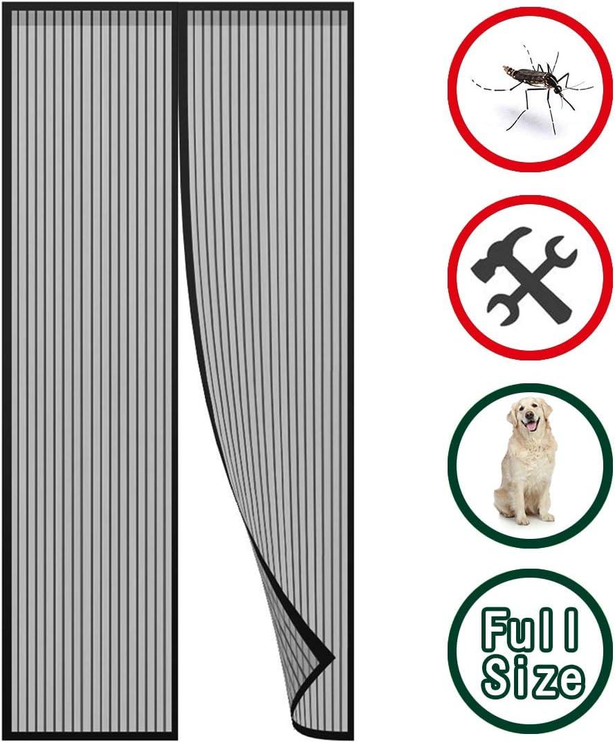 GUOGAI Puertas Mosquitera Magnética 130x210cm(51x83inch) Mosquitera Magnética Permite Entrada Aire Fresco Mantiene Insectos afuera para Puertas Correderas, Negro