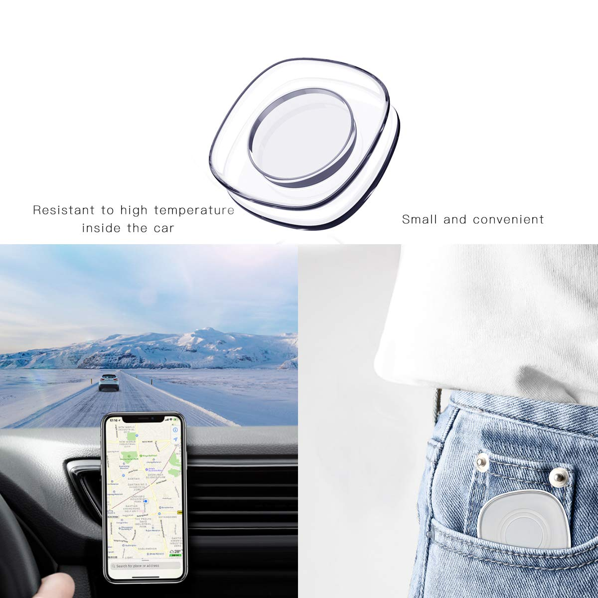Small Equipment and Items Washable Versatile Universal Sticky car Phone Holder Square 2PC Houses Nano Gel Pad Magic Sticker Glass Office Storage for Cars